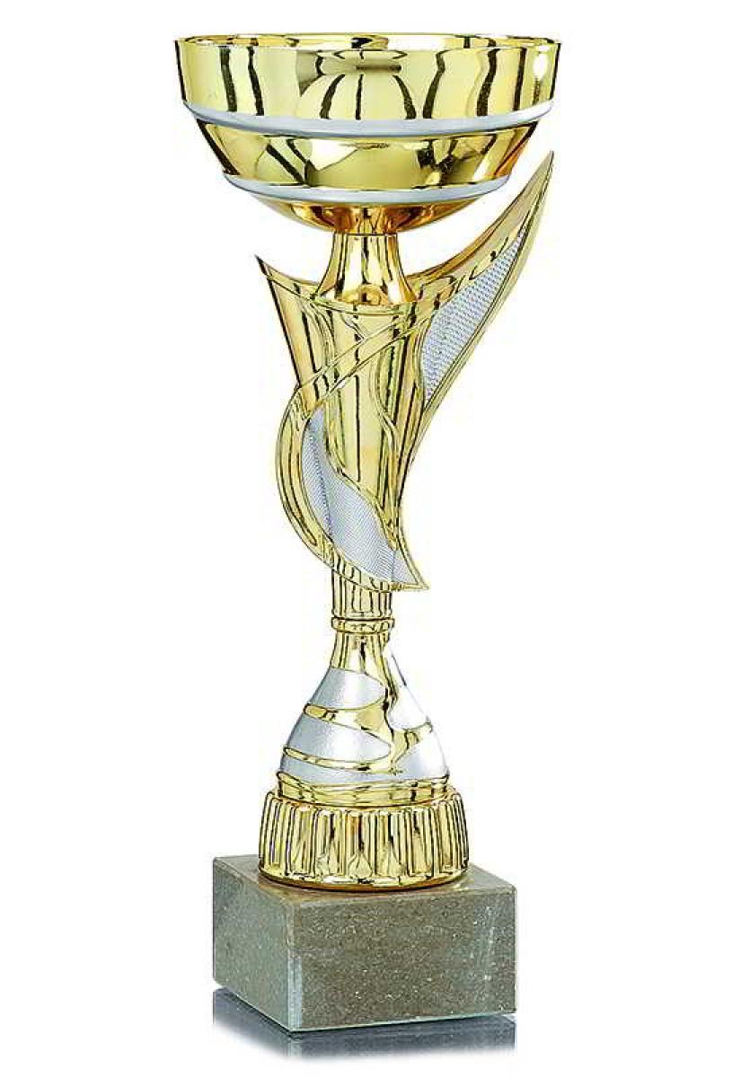 Sportland Pokal Silber//blau aus Kunststoff mit Marmorsockel S.B.J
